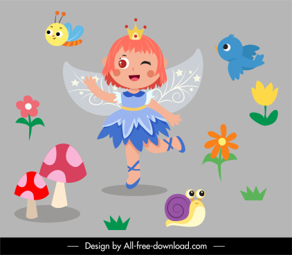 fairy decor elements winged girl flowers animals sketch