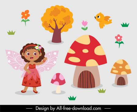 fairy design elements cute colorful cartoon sketch