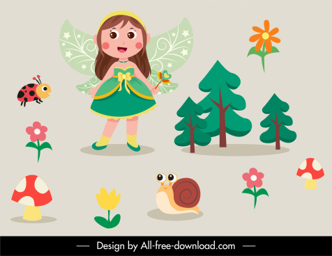 fairy design elements winged girl nature creatures sketch