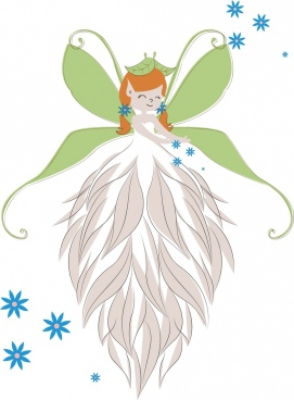 fairy drawing cute girl wings feathers icons decor