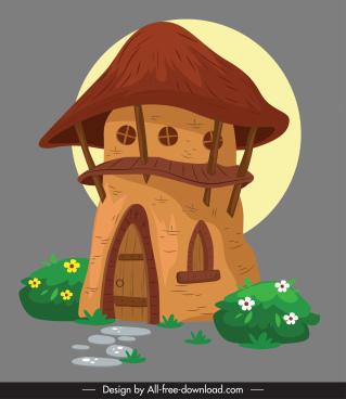 fairy house icon colorful classic retro mushroom shape