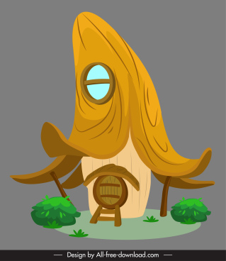 fairy house icon retro tall roof sketch