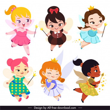 fairy icons cute girls sketch cartoon characters