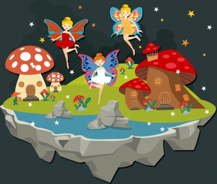 fairy land drawing winged angels mushroom house icons