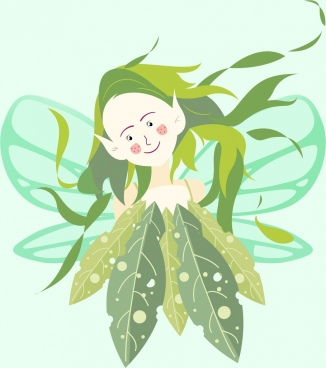 fairy painting cute cartoon character