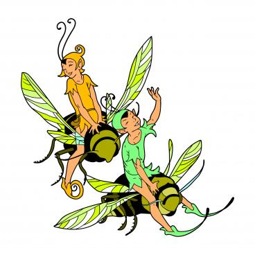 fairy riding honey bee