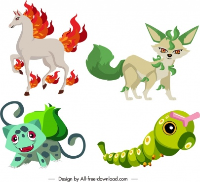 fairy species icons cartoon characters sketch
