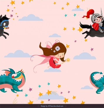 fairy tale background cute cartoon characters decor