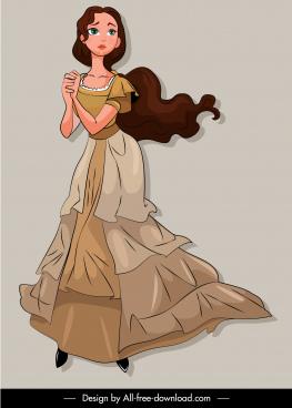 fairy tale character icon cute girl cartoon design