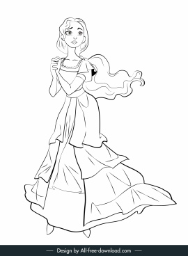 fairy tale character icon lady handdrawn cartoon sketch