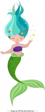 fairy tale character mermaid icon cute cartoon sketch