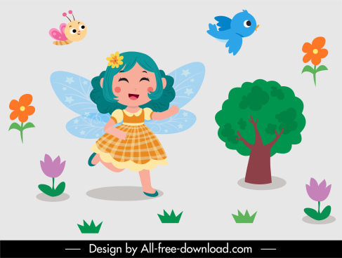 fairy tale decor elements winged girl nature elements