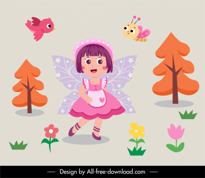 fairy tale decor elements winged girl nature sketch