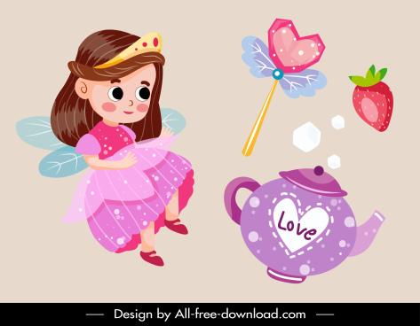 fairy tale design elements angel objects sketch