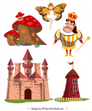 fairy tale design elements castle king legendary sketch