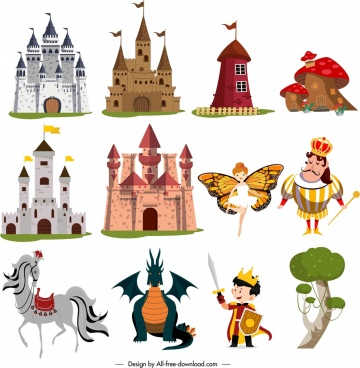 fairy tale design elements colored cartoon sketch