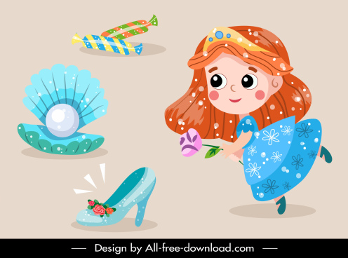 fairy tale design elements princess objects sketch