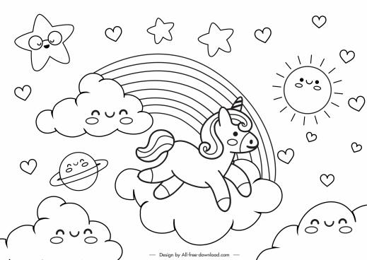 fairy tale drawing cute stylized clouds suns unicorn