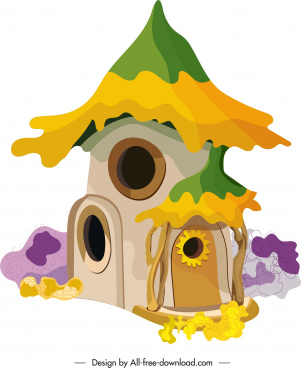 fairy tale house icon colorful retro design