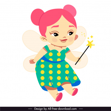 fairy tale icon cute flying girl sketch