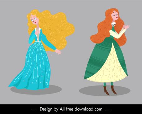 fairy tale icons beautiful ladies sketch cartoon characters