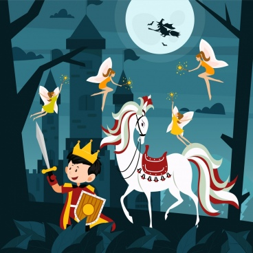 fairy tale painting prince horse moonlight icons