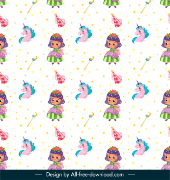 fairy tale pattern angel unicorn sketch repeating design