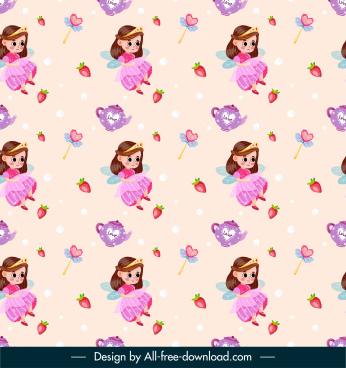fairy tale pattern repeating princess strawberry tea pot