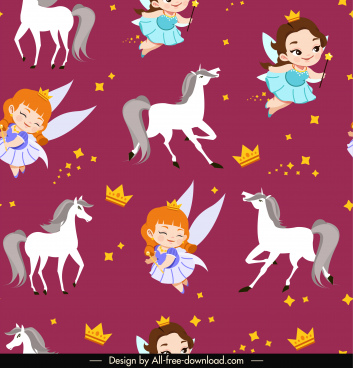 fairy tale pattern template repeating angels horses sketch
