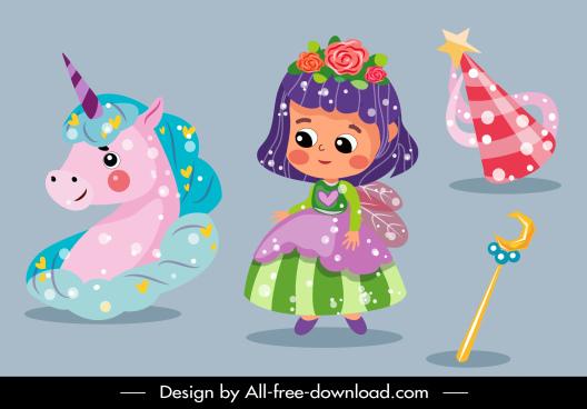 fairy tale picture book design elements colorful symbols