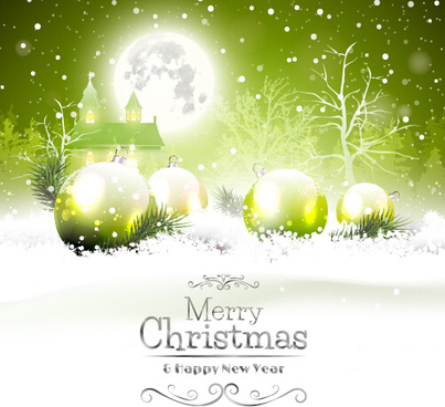 fairytale christmas background with green xmas ball vector