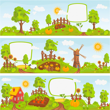 fairytale town scenery banner vector