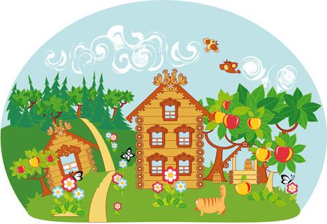 fairytale town scenery vector