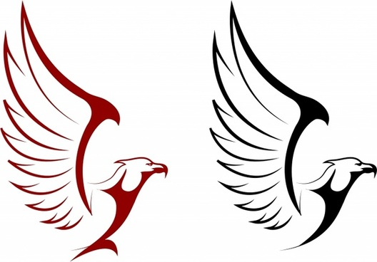 Falcon and eagle mascots