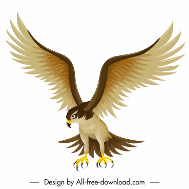 falcon icon flying hunter sketch colored cartoon design