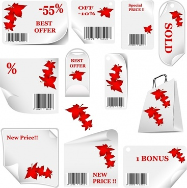 autumn sale tags templates red leaf decor