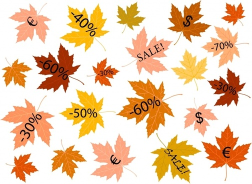 autumn sales design elements colored leaves icons