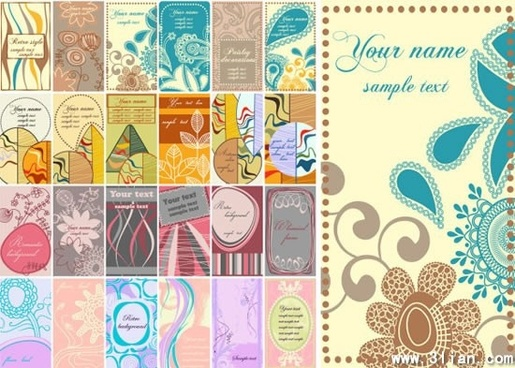 card templates colorful classical decor