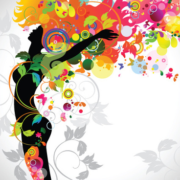 fall floral girl design vector graphic