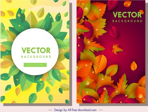 fall leaves background templates colorful dark bright decor