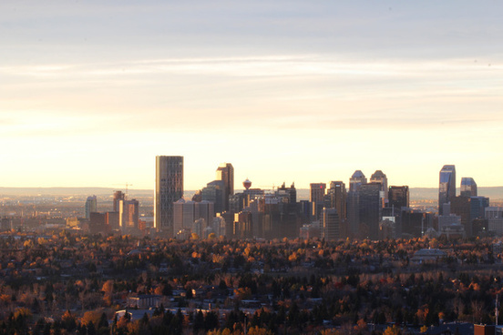 fall sunrise down town calgary