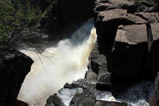 falling water at pigeon river provincial park ontario canada