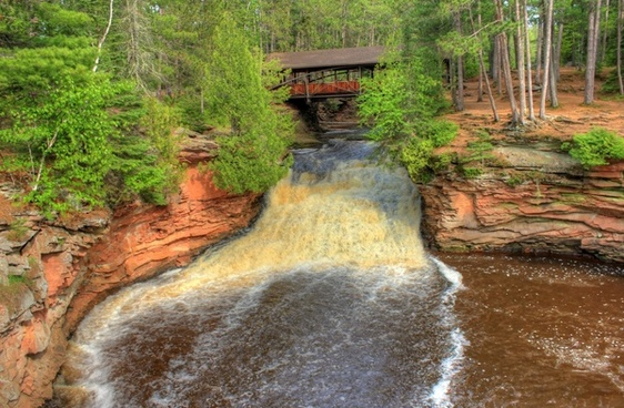 falls from the bridge at amnicon falls state park wisconsin