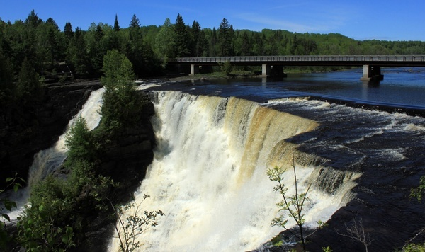 falls from the other side at kakabeka falls ontario canada