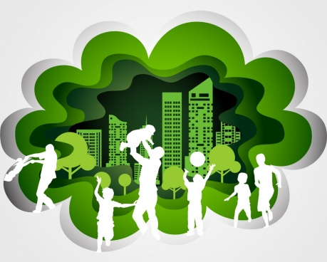 family activities design elements white silhouettes green city