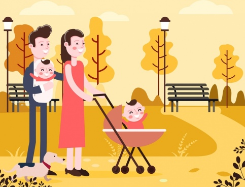 family background colored cartoon design