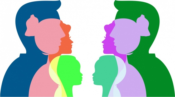family background colorful silhouette human icons