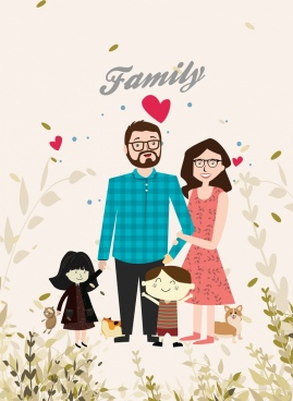 family background cute colored cartoon design