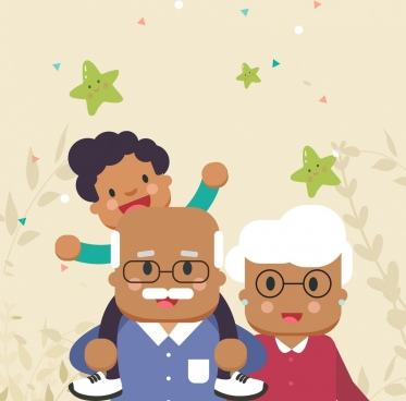 family background grandparents grandchild icons cartoon characters