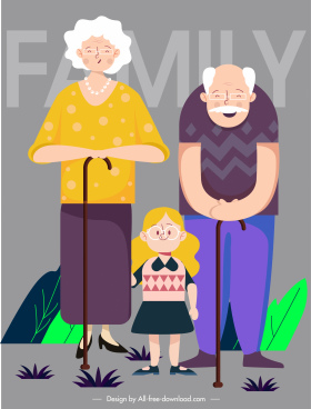 family background grandparents granddaughter sketch cartoon characters